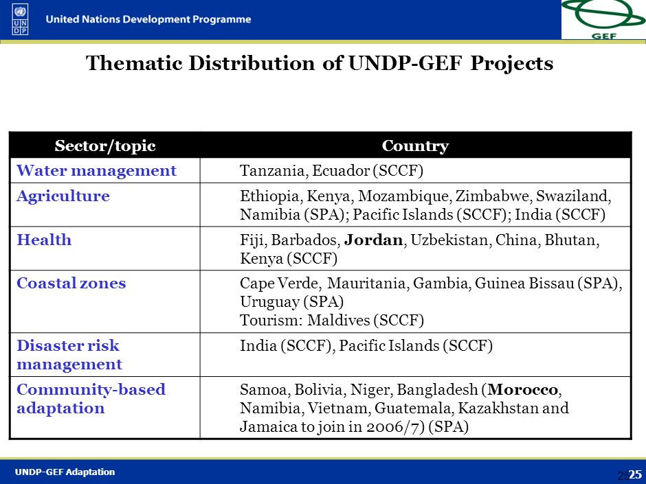 Thematic Distribution of UNDP-GEF Projects