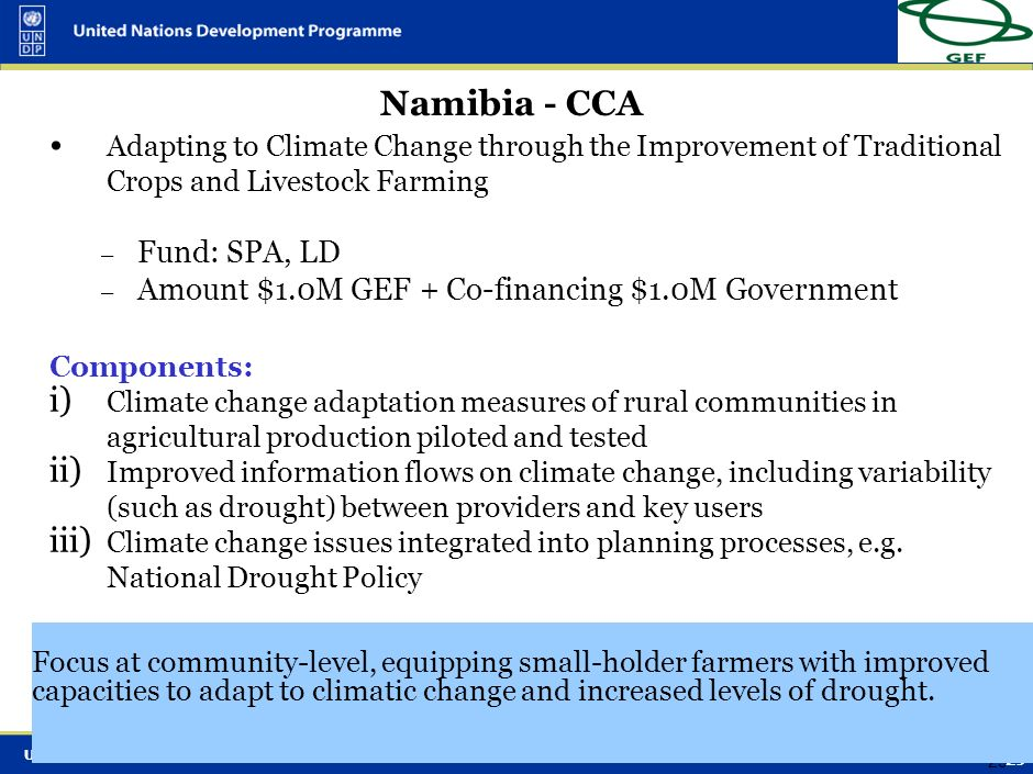 Namibia - CCA Fund: SPA, LD
