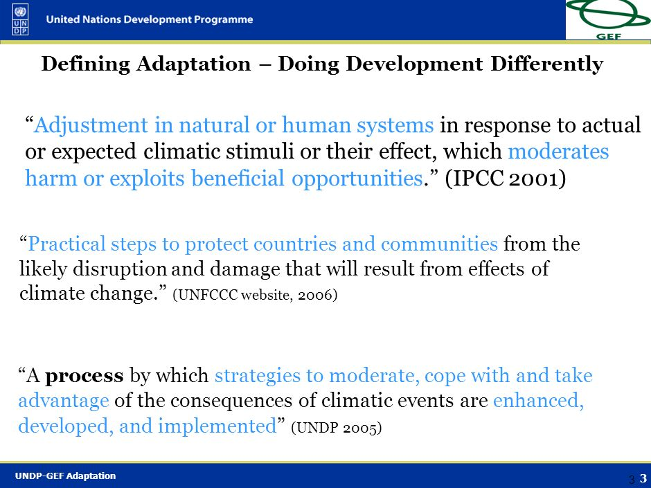 Defining Adaptation – Doing Development Differently