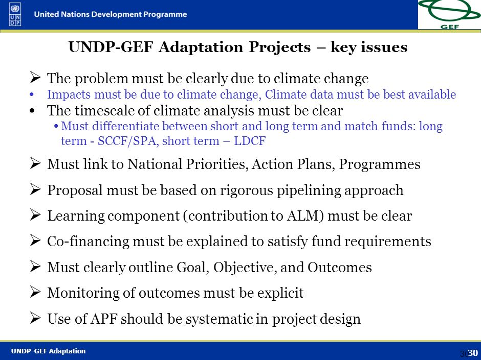 UNDP-GEF Adaptation Projects – key issues