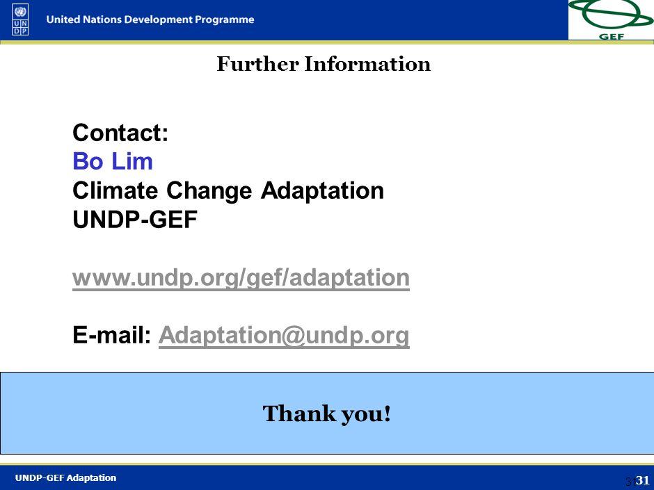 Climate Change Adaptation UNDP-GEF www.undp.org/gef/adaptation