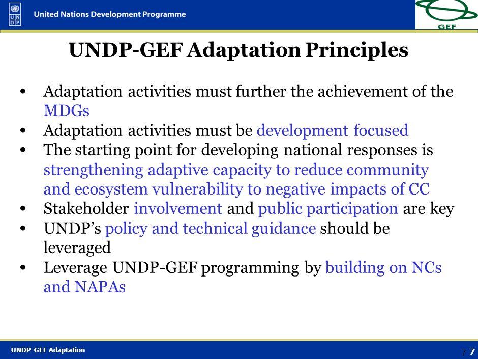 UNDP-GEF Adaptation Principles