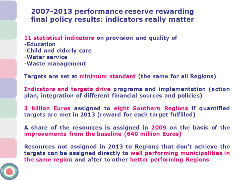 2007-2013 performance reserve rewarding final policy results: indicators really matter