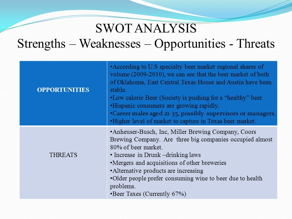 swot analysis of chang beer Beer chang swot introduction koh chang is the thailand's second largest island, after phuket named elephant island because it is said to resemble the profile of an elephant koh chang is situated some 330 km east of bangkok in the province of trat and is some 40 kilometres long and 16 kilometres wide.