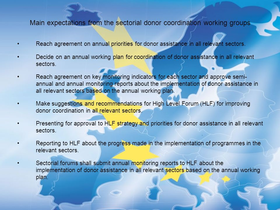 Main expectations from the sectorial donor coordination working groups