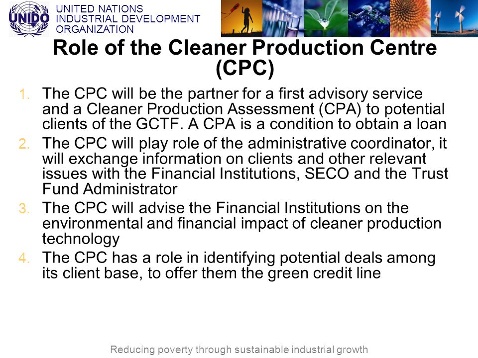 Role of the Cleaner Production Centre (CPC)