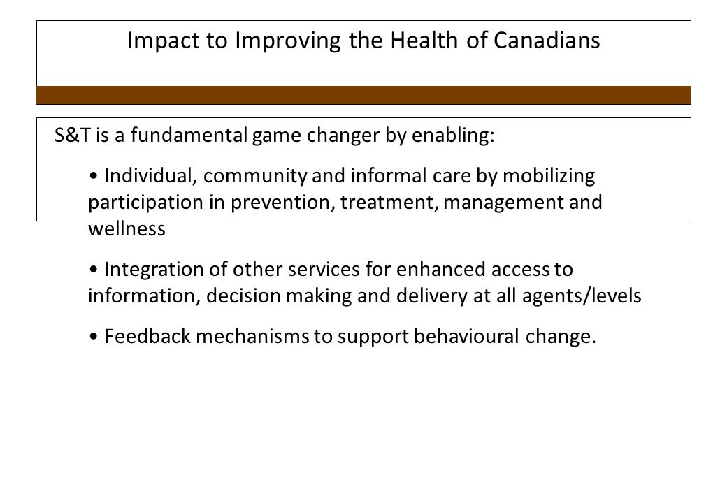 Impact to Improving the Health of Canadians