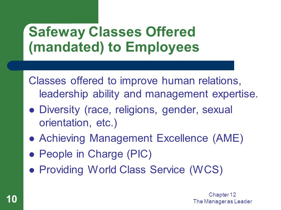 Safeway Classes Offered (mandated) to Employees