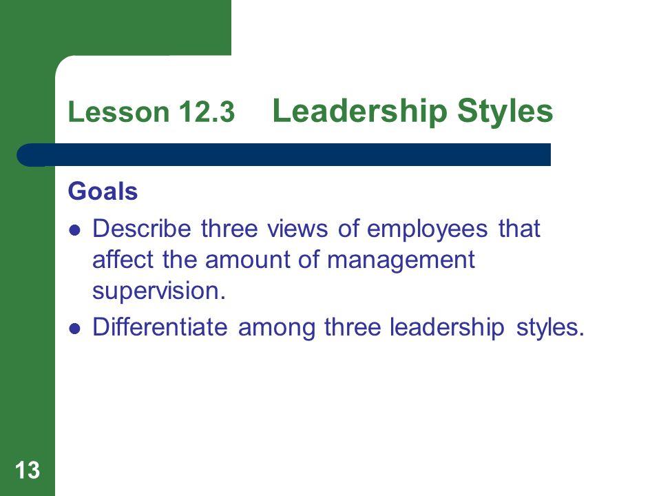 Lesson 12.3 Leadership Styles