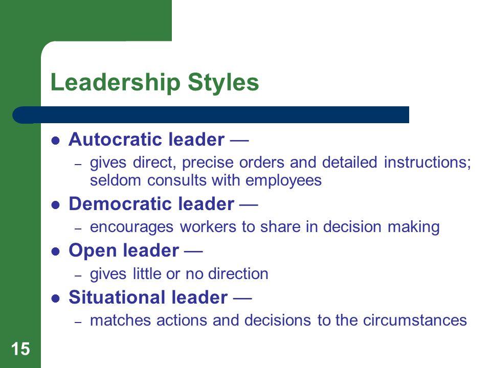Leadership Styles Autocratic leader — Democratic leader —