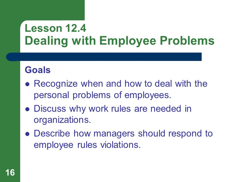 Lesson 12.4 Dealing with Employee Problems