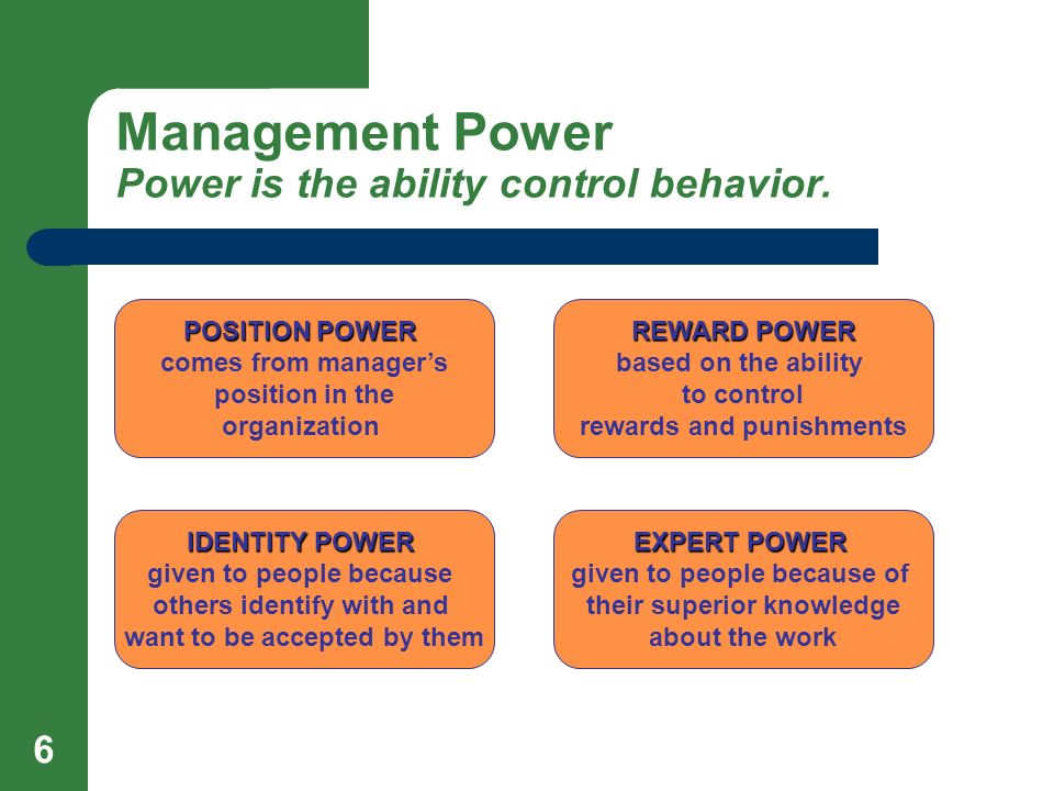 Management Power Power is the ability control behavior.