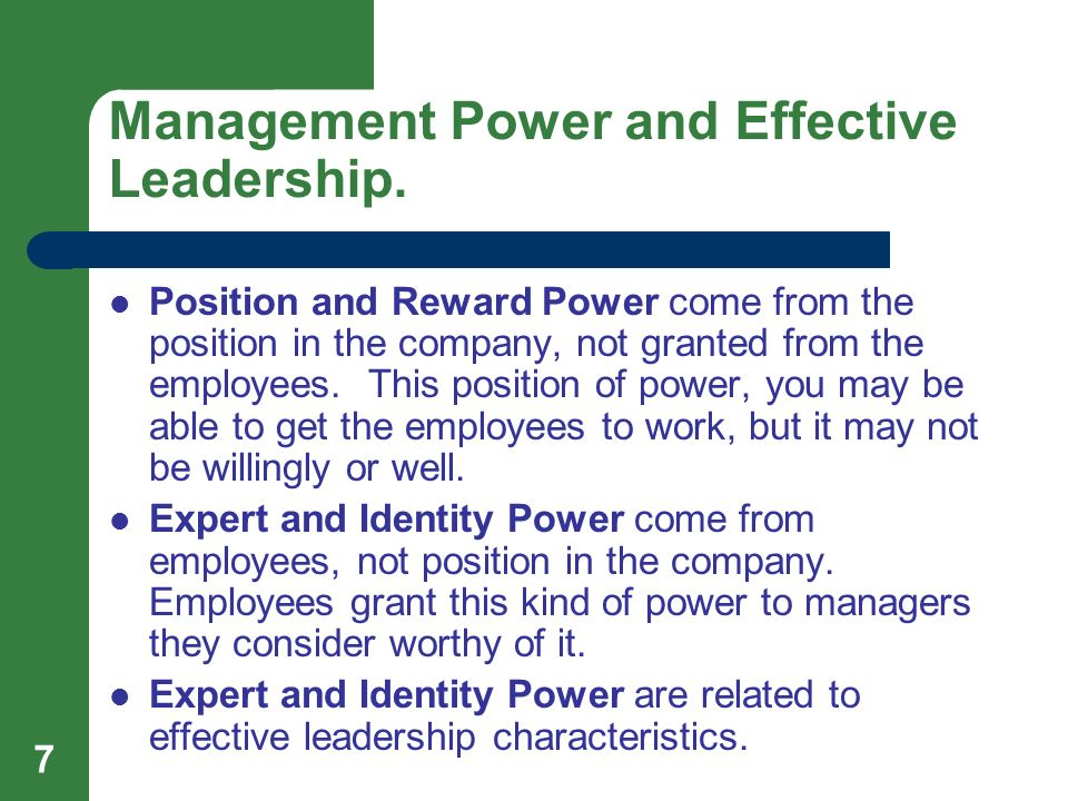 power and leadership management 2015-07-01  6 types of leadership power - free download as pdf file (pdf), text file (txt) or read online for free.