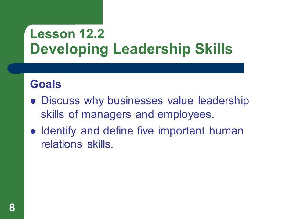 Lesson 12.2 Developing Leadership Skills