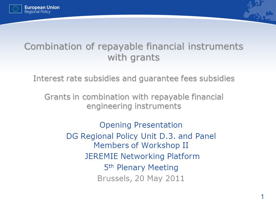 Combination of repayable financial instruments with grants Interest rate subsidies and guarantee fees subsidies Grants in combination with repayable financial engineering instruments
