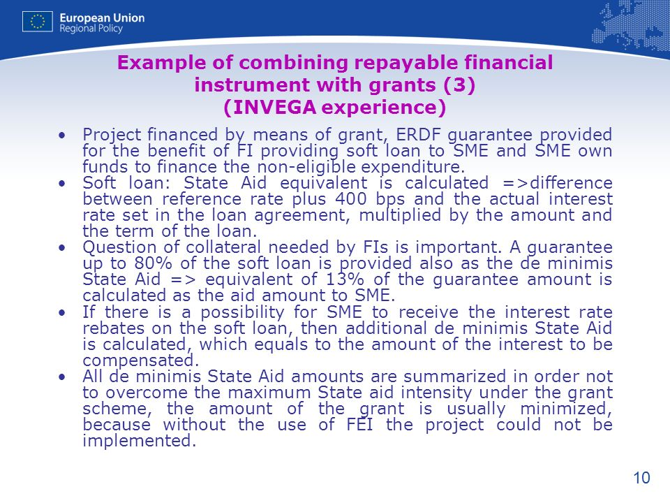 Example of combining repayable financial instrument with grants (3) (INVEGA experience)