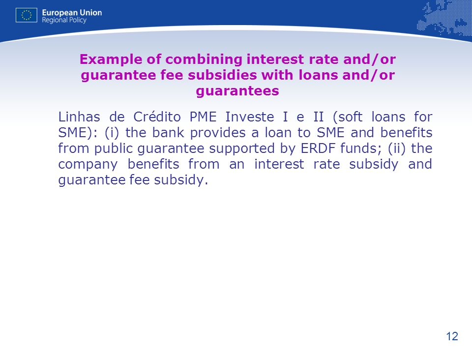 Example of combining interest rate and/or guarantee fee subsidies with loans and/or guarantees