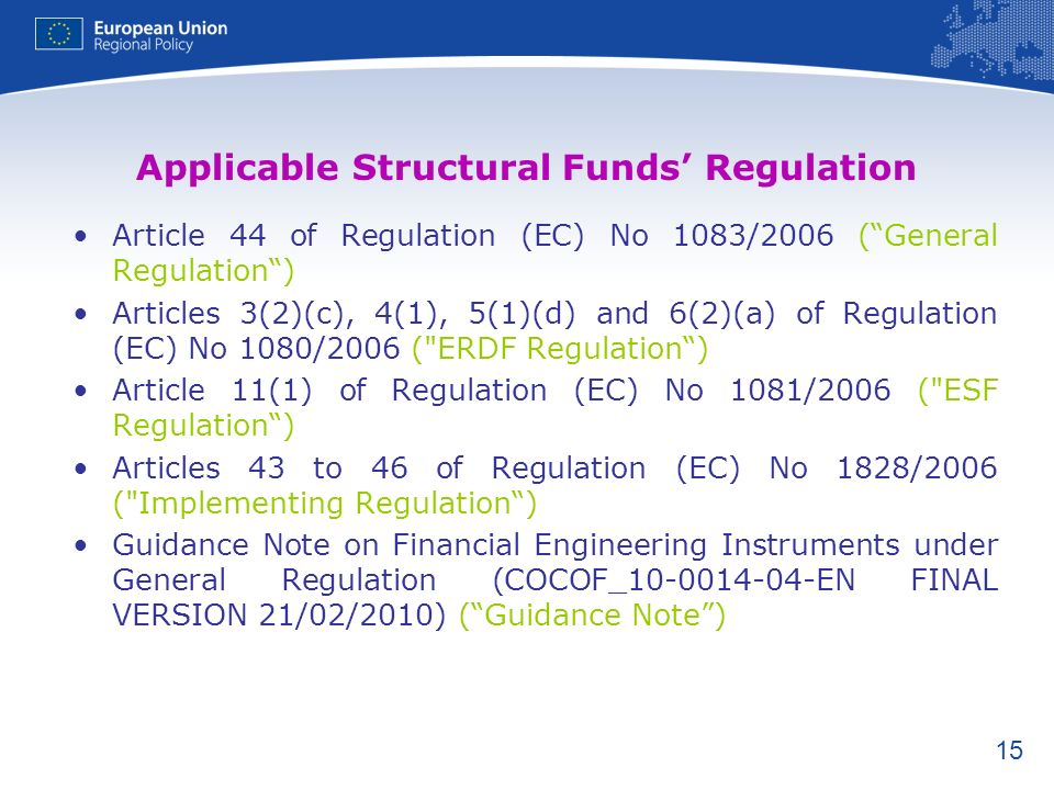 Applicable Structural Funds' Regulation
