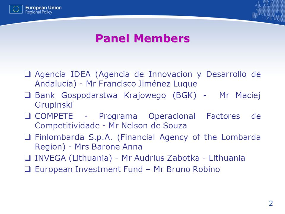 Panel Members Agencia IDEA (Agencia de Innovacion y Desarrollo de Andalucia) - Mr Francisco Jiménez Luque.