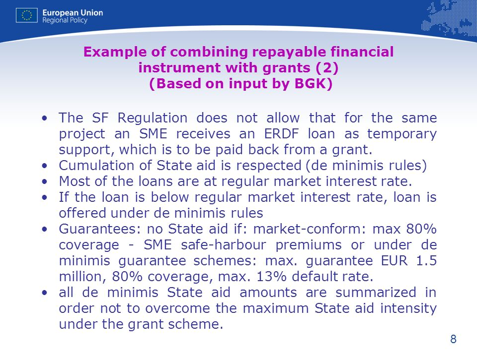 Example of combining repayable financial instrument with grants (2) (Based on input by BGK)