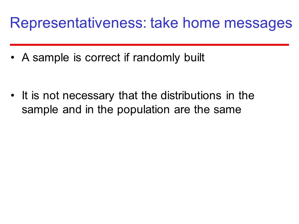 Representativeness: take home messages