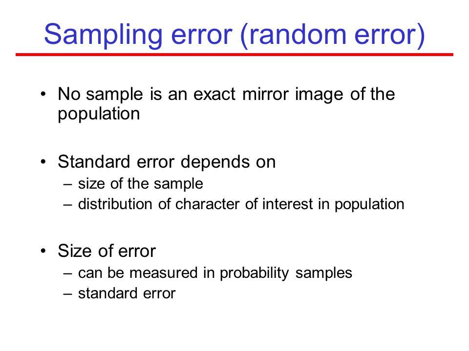 Sampling error (random error)