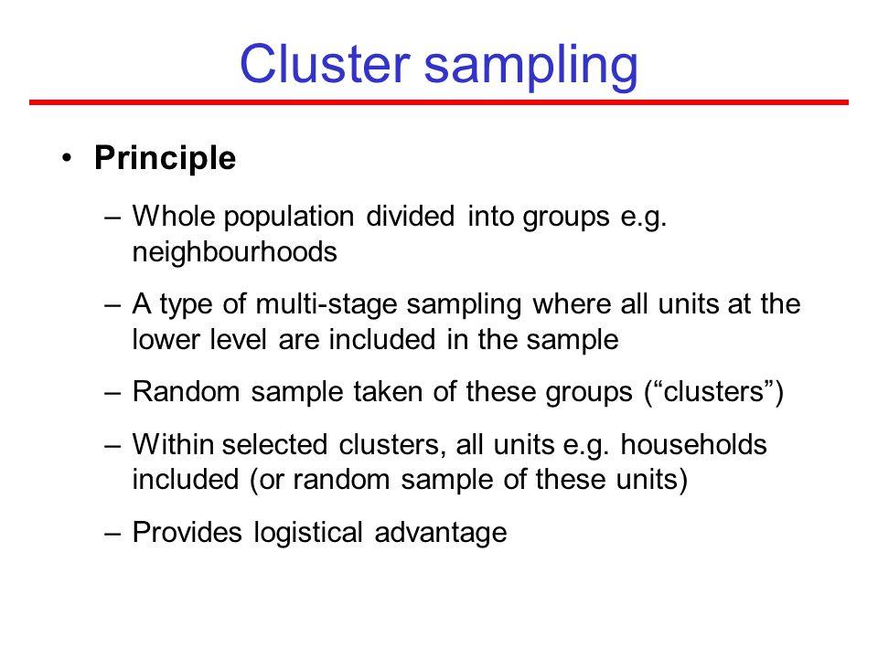 Cluster sampling Principle