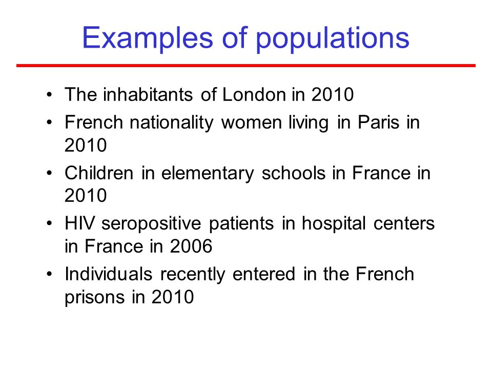 Examples of populations