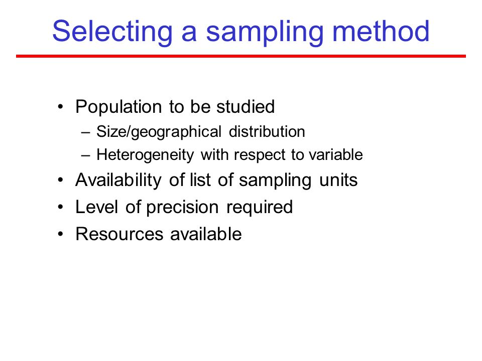 Selecting a sampling method