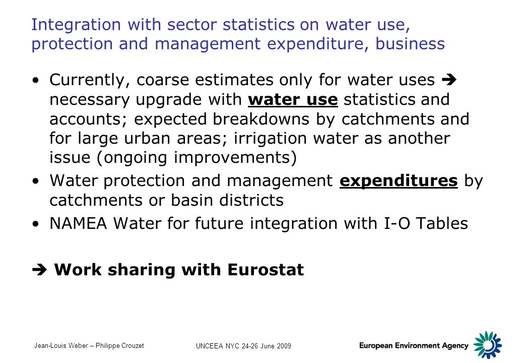 NAMEA Water for future integration with I-O Tables