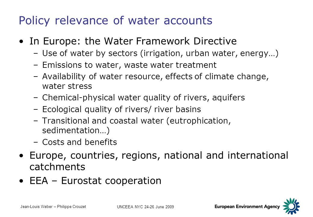 Policy relevance of water accounts