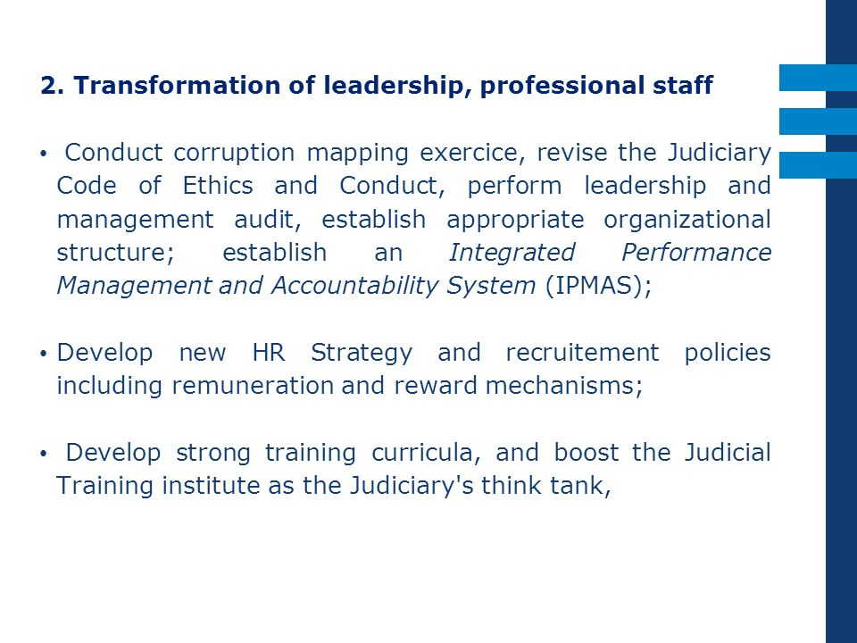 2. Transformation of leadership, professional staff