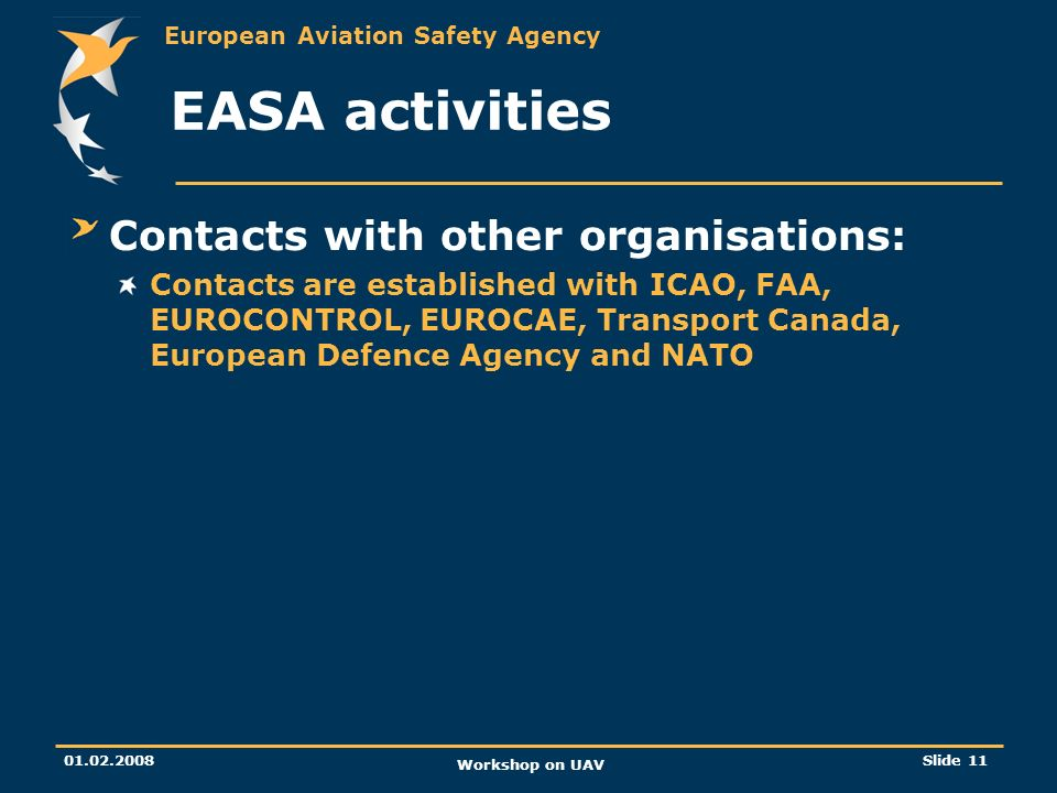 EASA activities Contacts with other organisations: