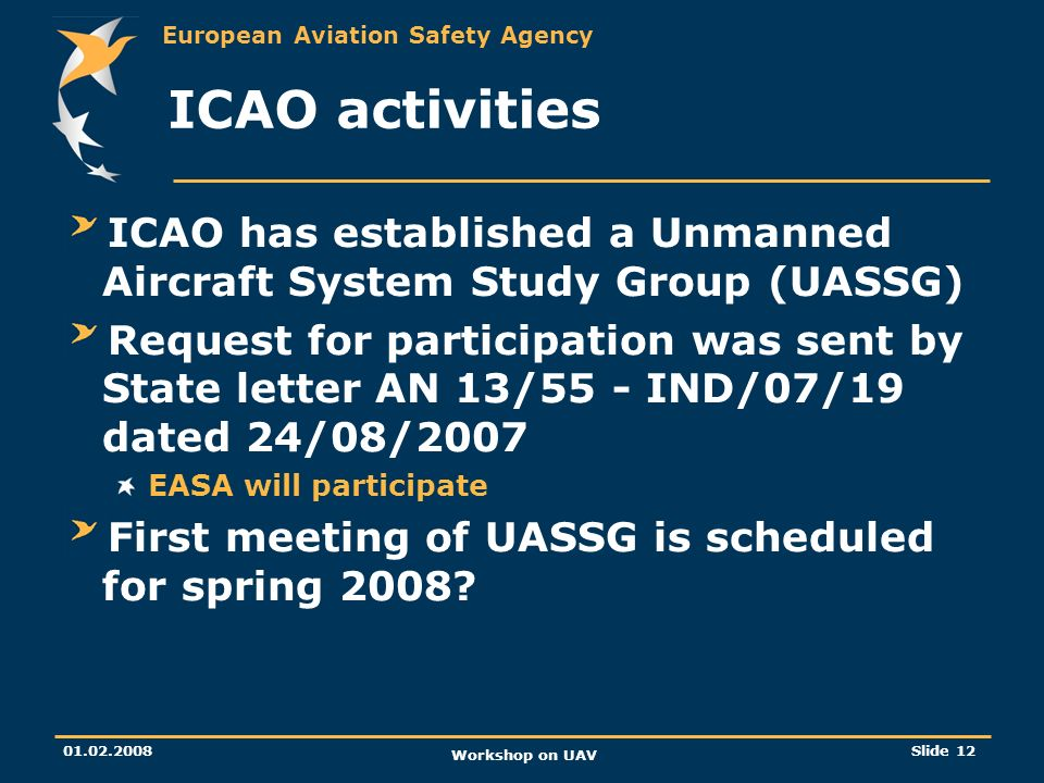 ICAO activities ICAO has established a Unmanned Aircraft System Study Group (UASSG)