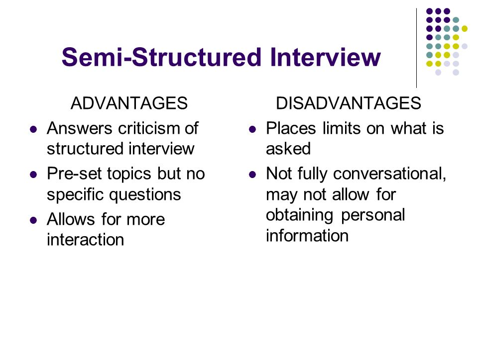 semi structured interview - Structured Interview Questions And Answers Advantages And Disadvantages