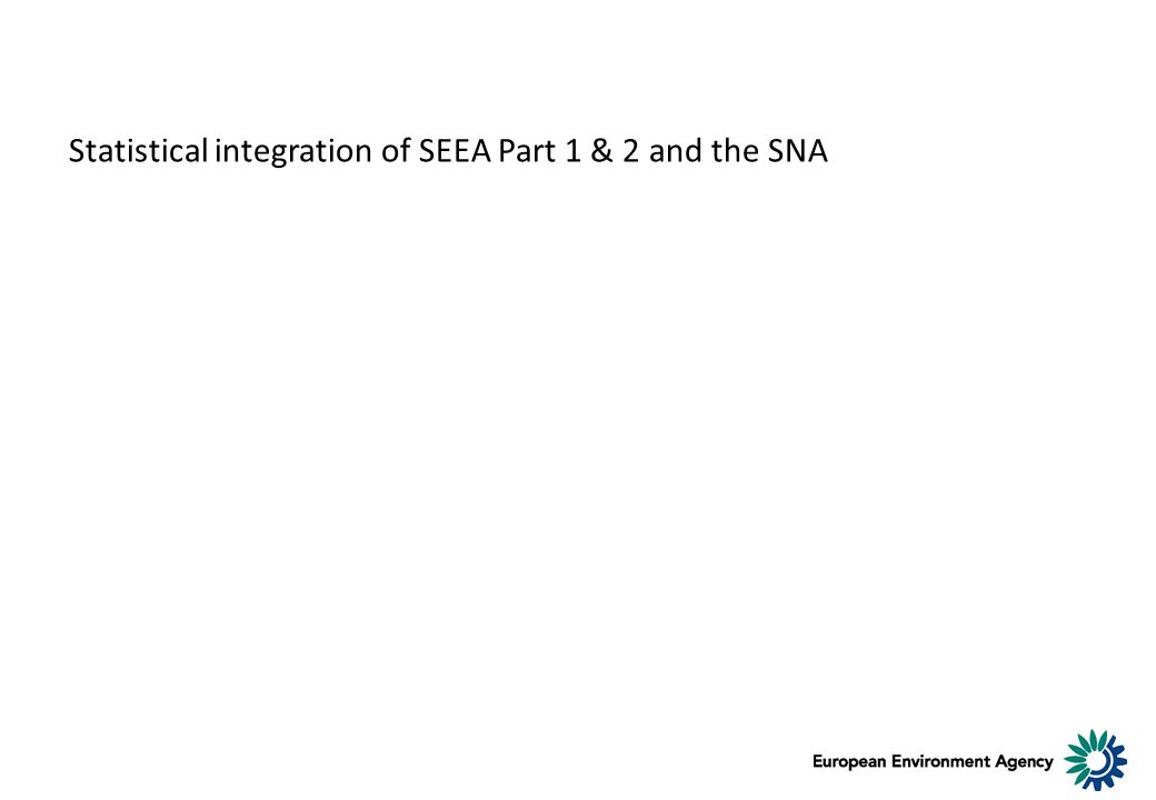 Statistical integration of SEEA Part 1 & 2 and the SNA