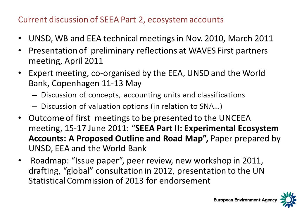 Current discussion of SEEA Part 2, ecosystem accounts
