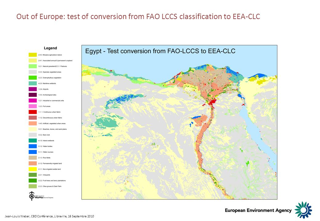 Out of Europe: test of conversion from FAO LCCS classification to EEA-CLC