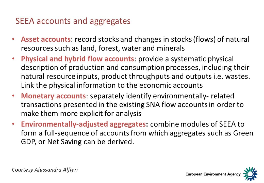 SEEA accounts and aggregates