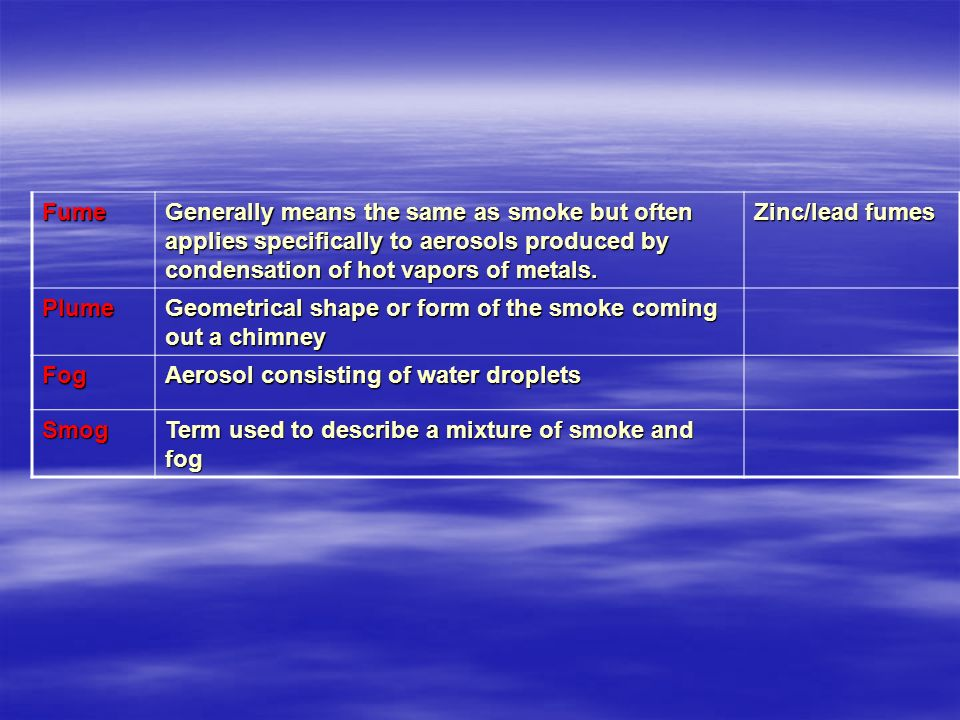 Fume Generally means the same as smoke but often applies specifically to aerosols produced by condensation of hot vapors of metals.