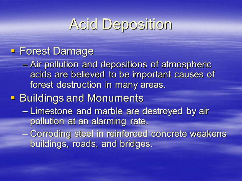 Acid Deposition Forest Damage Buildings and Monuments