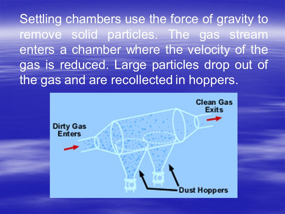 Settling chambers use the force of gravity to remove solid particles