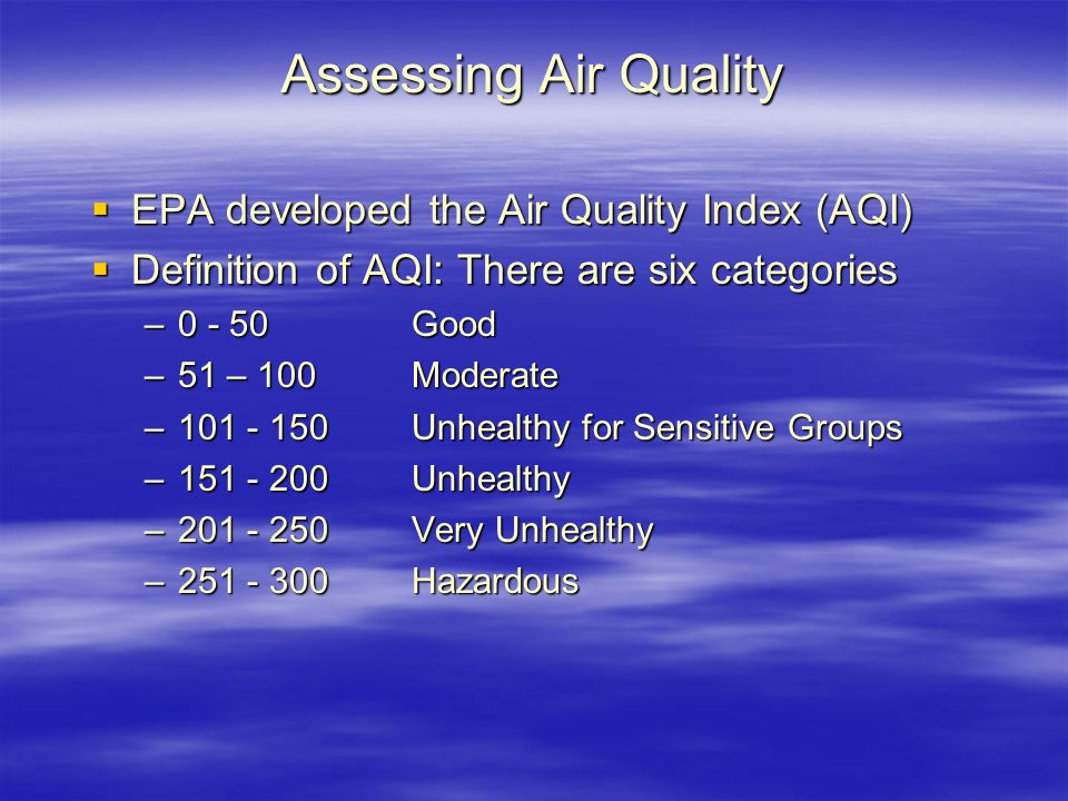 Assessing Air Quality EPA developed the Air Quality Index (AQI)