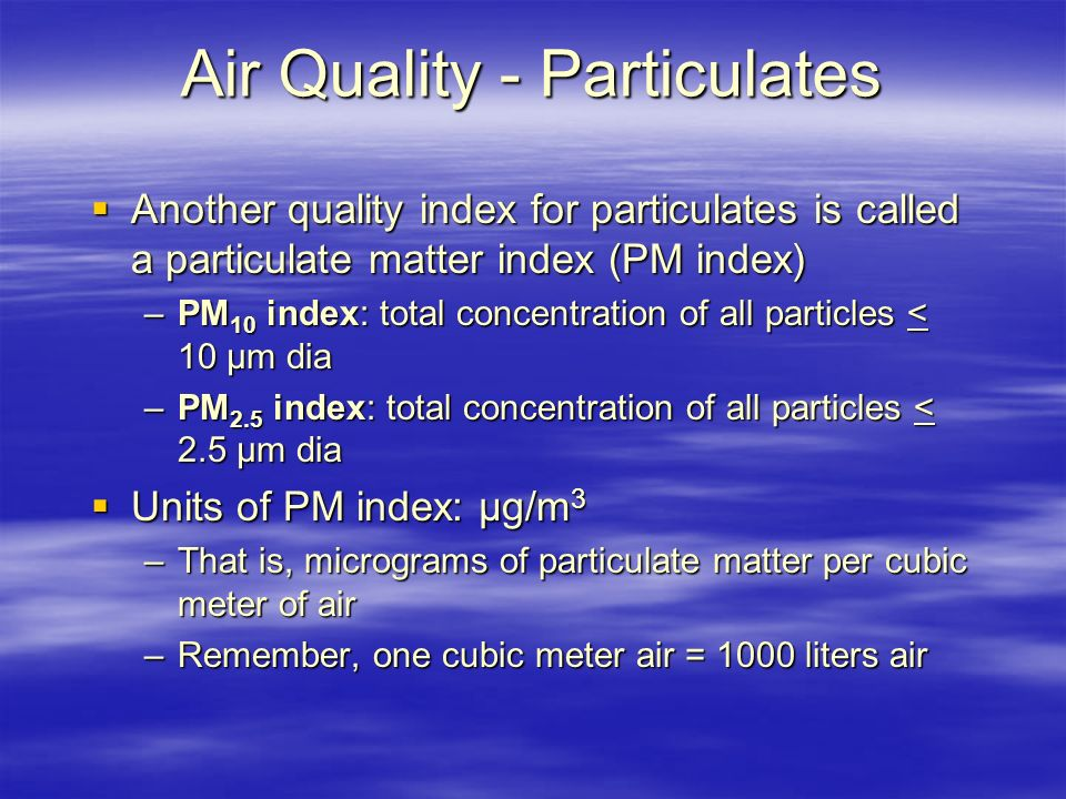 Air Quality - Particulates
