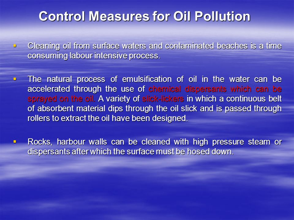 Control Measures for Oil Pollution