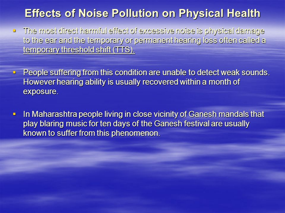 Effects of Noise Pollution on Physical Health