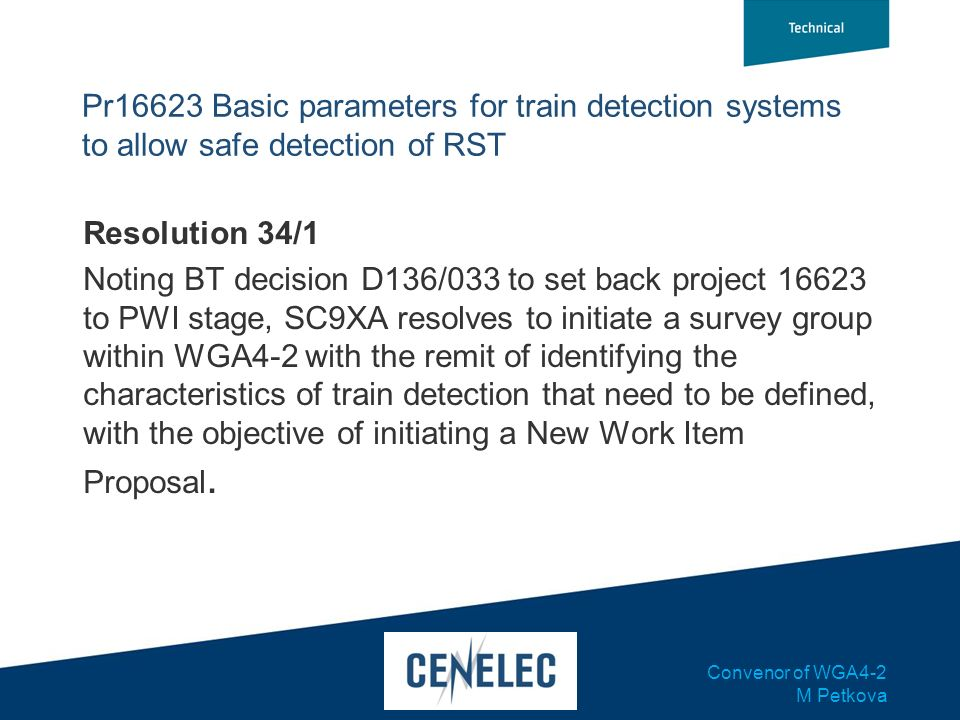 Pr16623 Basic parameters for train detection systems to allow safe detection of RST