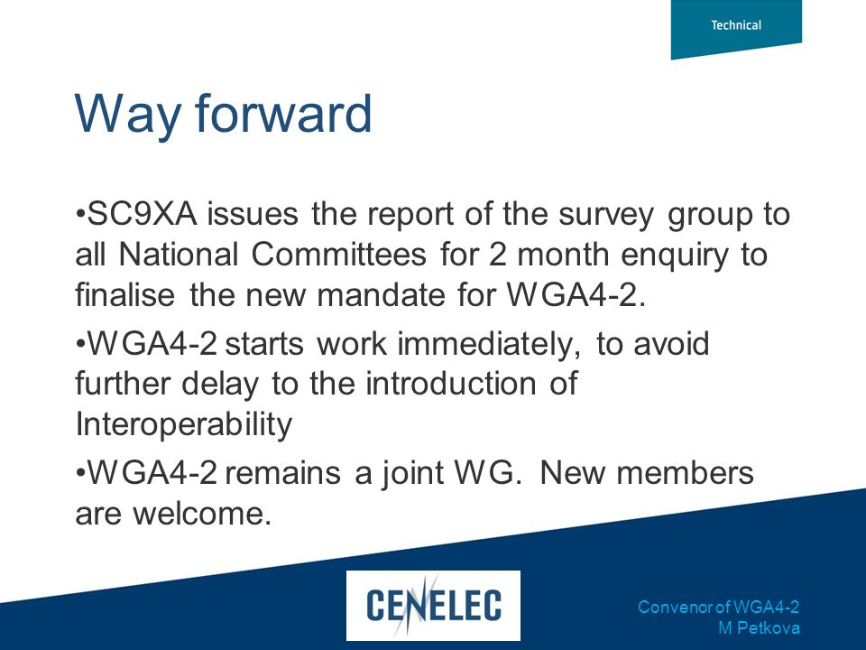 Way forwardSC9XA issues the report of the survey group to all National Committees for 2 month enquiry to finalise the new mandate for WGA4-2.