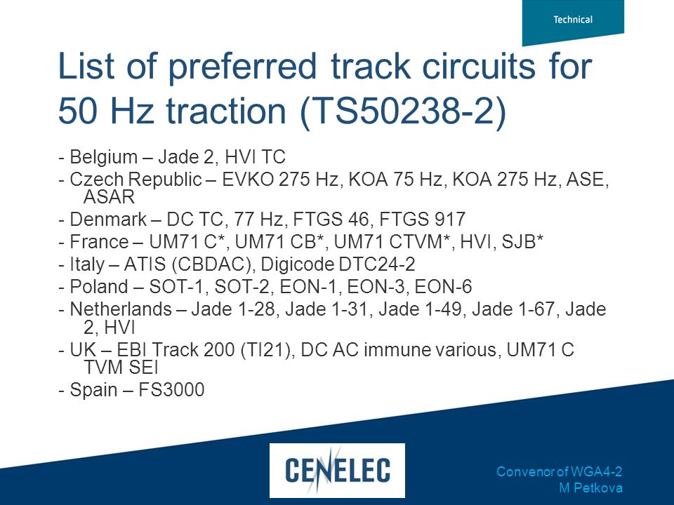 List of preferred track circuits for 50 Hz traction (TS50238-2)