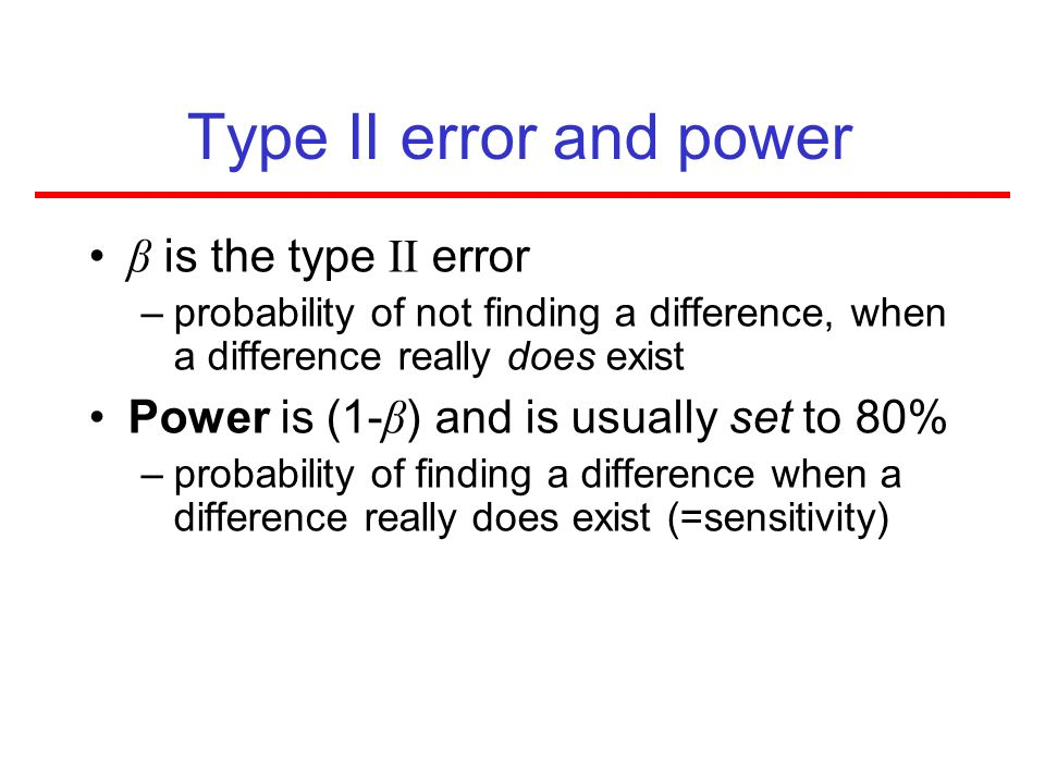 Type II error and power β is the type II error